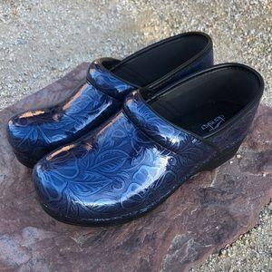 DANSKO blue patent leather floral clogs RARE